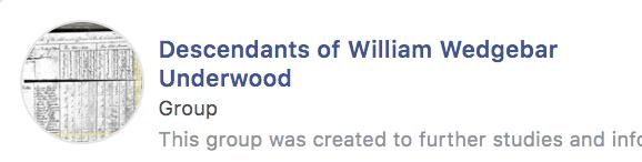 Descendants of William Wedgebar Underwood